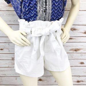 Zara Collection White Paper Bag Shorts Sz M ::GG4